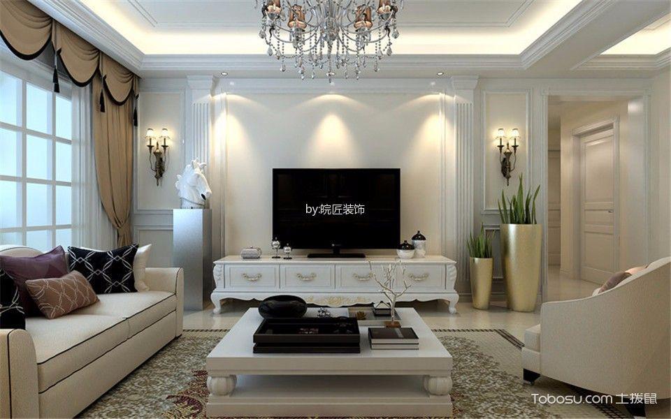 客厅白色电视柜简欧风格装潢图片