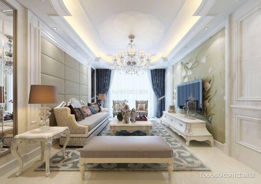 客厅 吊顶_欧式风格141平米三室两厅新房装修效果图