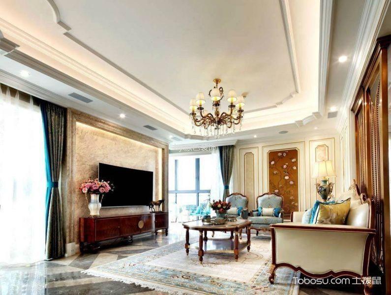 客厅红色电视柜法式风格装修图片