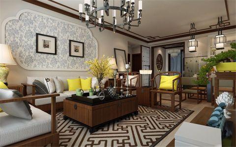 新中式风格80平米三室两厅新房装修效果图