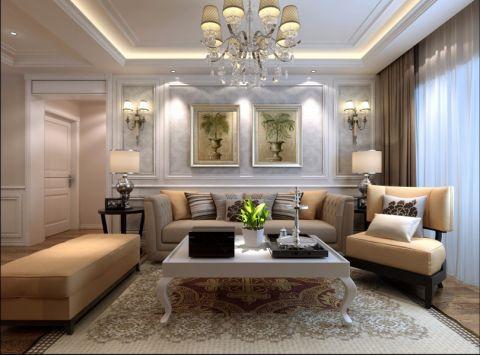 欧式风格102平米三室两厅新房装修效果图