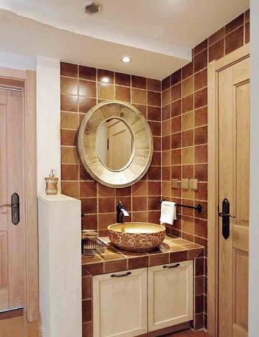 卫生间彩色背景墙混搭风格装修效果图