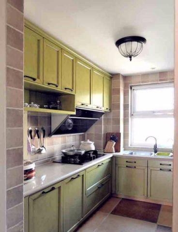 厨房绿色橱柜混搭风格装饰效果图
