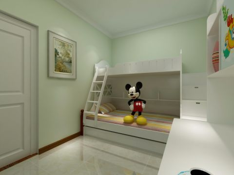 儿童房背景墙简约风格装修设计图片