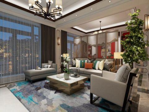 新中式风格140平米四室两厅室内装修效果图