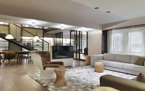 现代简约风格80平米三室两厅新房装修效果图