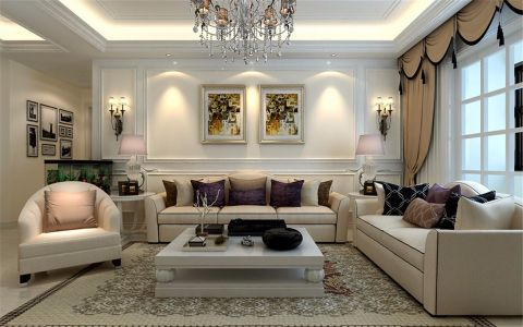 客厅照片墙简欧风格装修设计图片