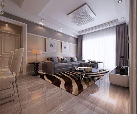 现代简约风格80平米两室两厅新房装修效果图