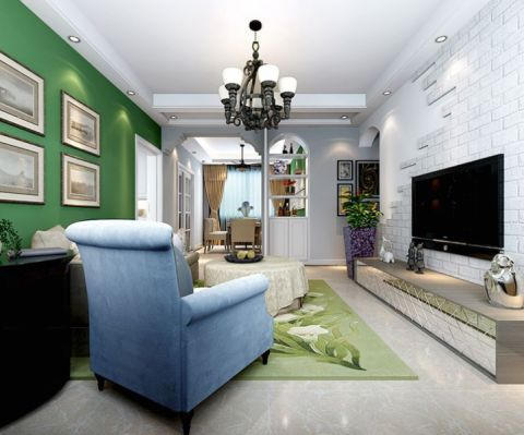 客厅电视柜美式风格装饰设计图片