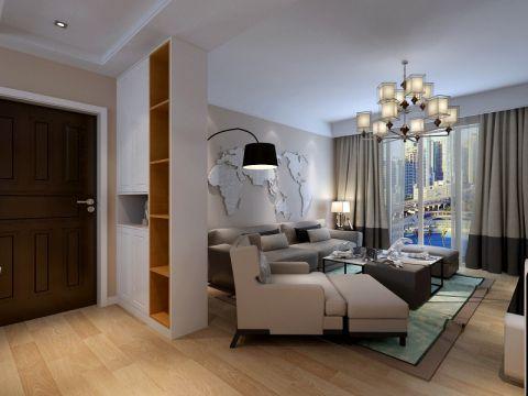 现代简约风格90平米公寓室内装修效果图