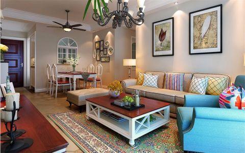 美式风格97平米三室两厅新房装修效果图