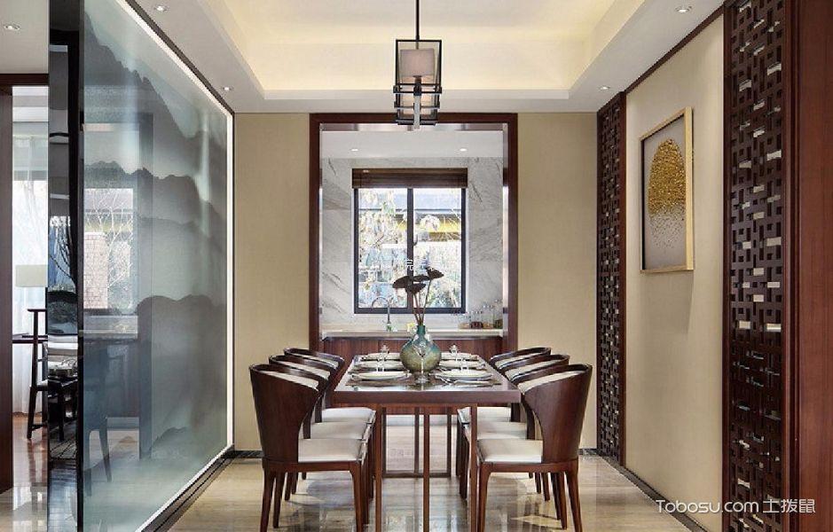 餐厅黄色背景墙现代中式风格装潢设计图片