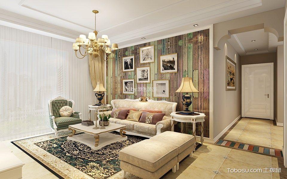 欧式田园风格120平米三室两厅新房装修效果图