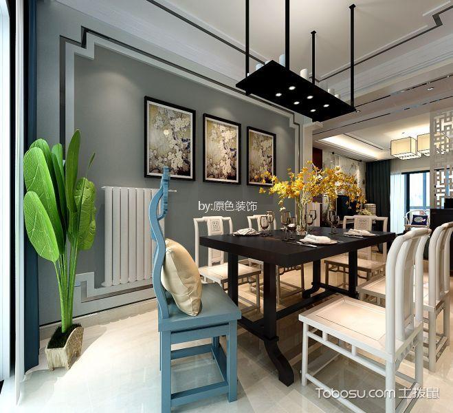 餐厅灰色照片墙现代中式风格装潢效果图