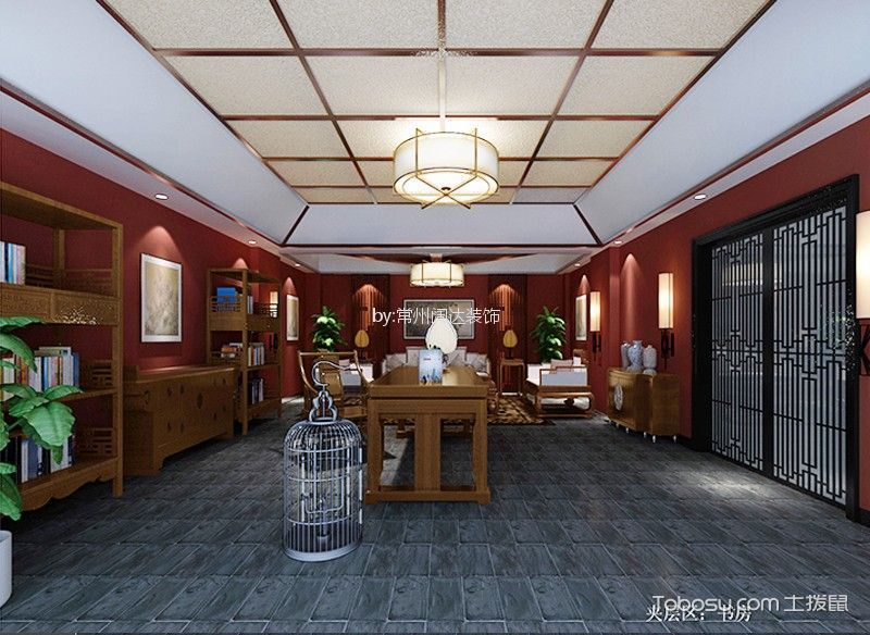 书房咖啡色博古架新中式风格装潢设计图片