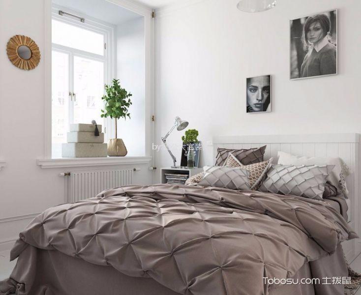 卧室白色照片墙北欧风格装修设计图片