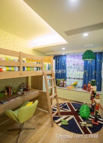儿童房蓝色窗帘现代风格装修图片