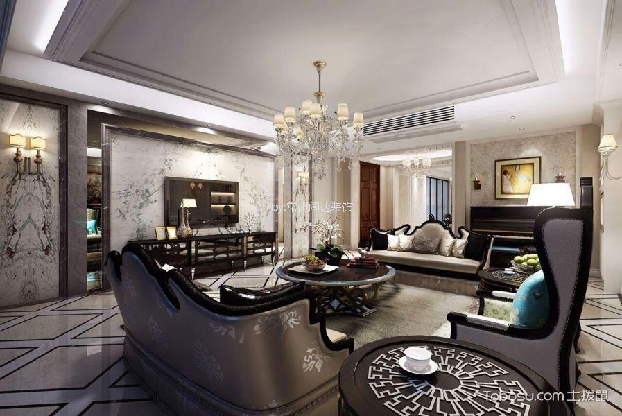 客厅咖啡色电视柜法式风格装修设计图片