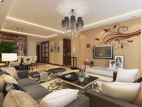 现代风格108平米三室两厅室内装修效果图