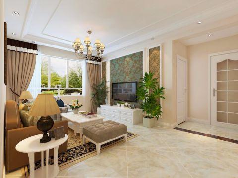 简欧风格87平米两室两厅室内装修效果图