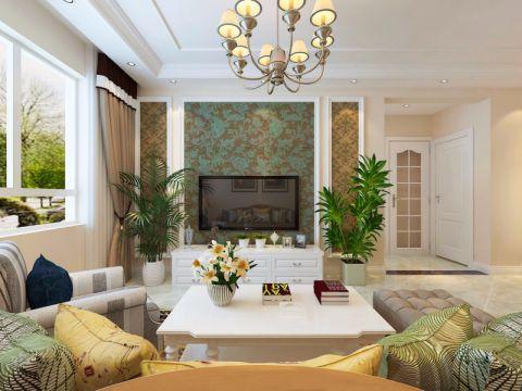 客厅茶几简欧风格装饰图片