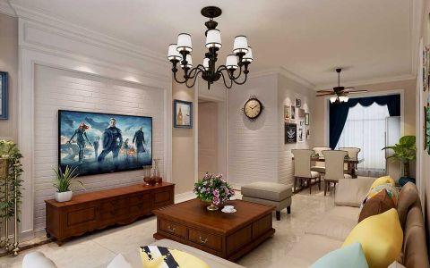 美式风格100平米三室两厅新房装修效果图