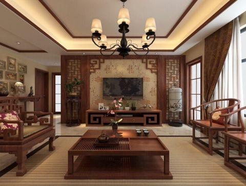 蜀山里120平中式三居室效果图
