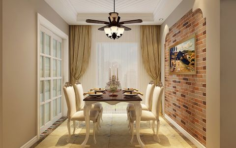 餐厅吊顶欧式田园风格装修设计图片