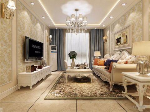 欧式风格90平米三室两厅室内装修效果图