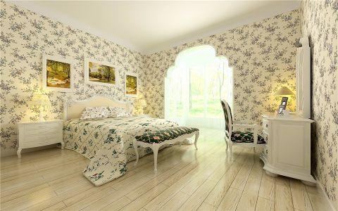 卧室背景墙欧式田园风格装潢效果图