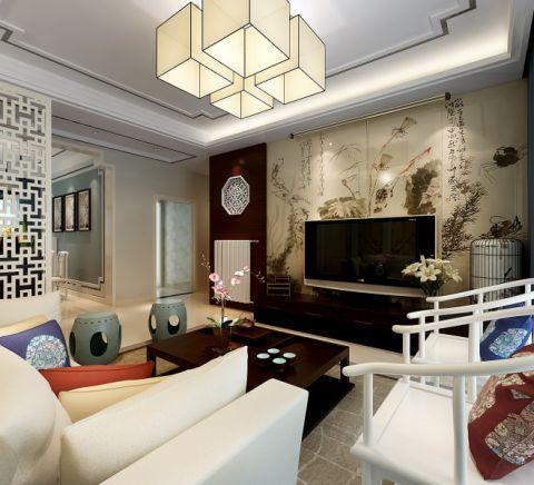 客厅茶几现代中式风格装修图片