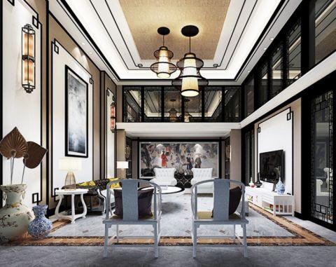 新中式风格385平米别墅新房装修效果图