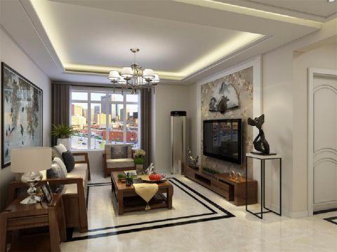 新中式风格105平米三室两厅室内装修效果图