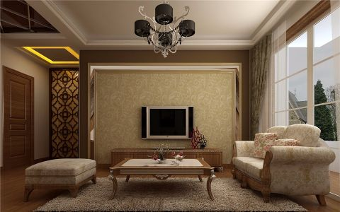 客厅背景墙简欧风格装潢图片