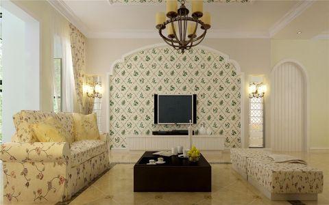 客厅电视柜欧式田园风格装饰效果图