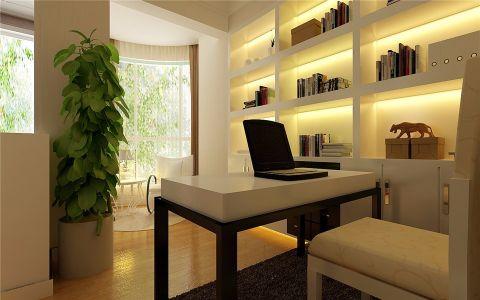 书房背景墙简约风格装潢设计图片