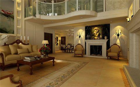 客厅地砖简欧风格装潢设计图片