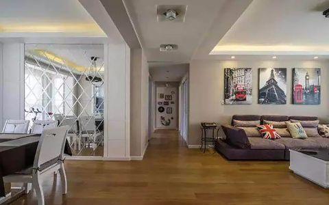 客厅地板砖现代简约风格装潢设计图片