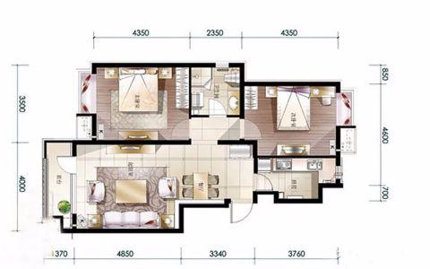 金隅悦城3室1厅1厨1卫美式风格