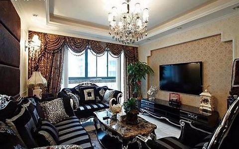 2019美式客厅装修设计 2019美式窗帘装修图