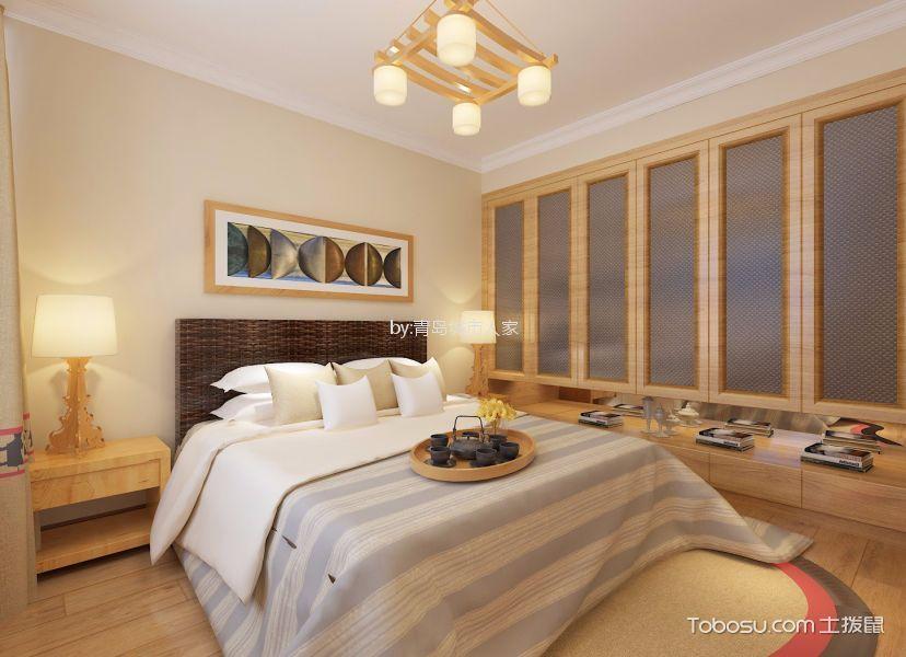 卧室咖啡色床日式风格装修效果图