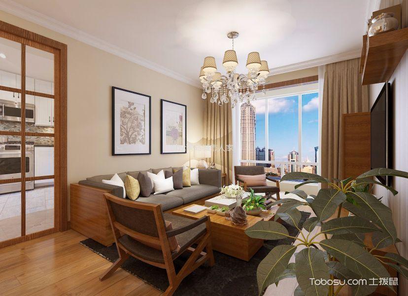 客厅白色吊顶日式风格装修图片