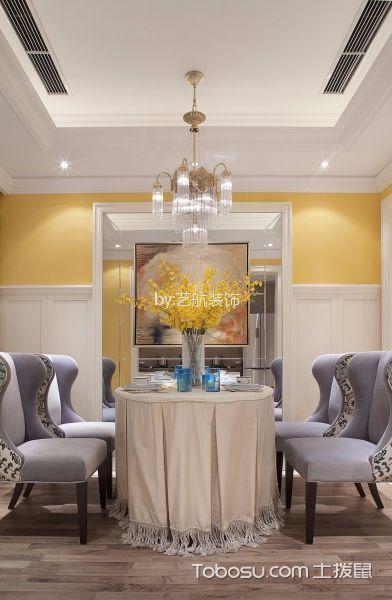 餐厅咖啡色地板砖美式风格装潢设计图片
