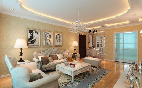 简欧风格132平米三室两厅室内装修效果图