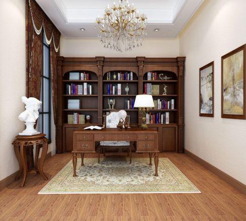 书房书桌中式风格装潢设计图片