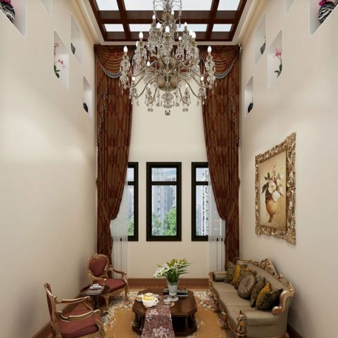客厅窗帘中式风格装修效果图