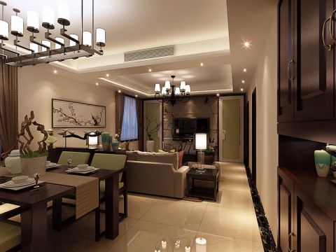 餐厅吊顶新中式风格装饰设计图片