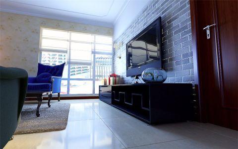 客厅落地窗美式风格装潢图片