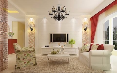 客厅窗帘欧式田园风格效果图