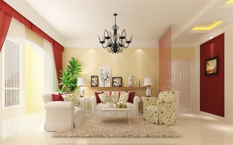 客厅茶几欧式田园风格装修效果图